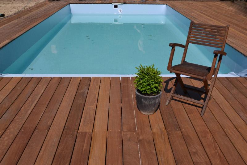 Platelage ipé autour d'une piscine